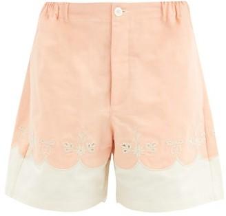 Gucci Scalloped Cotton-poplin Shorts - Light Pink