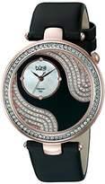 Burgi Women's BUR155BKR Rose Gold-Tone Watch with Black Band