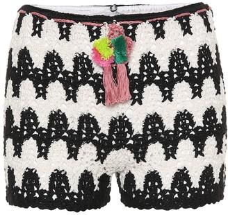 Anna Kosturova Zebra crocheted cotton shorts