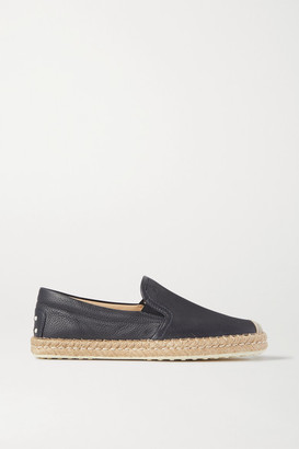 Tod's Gomma Textured-leather Espadrilles - Black