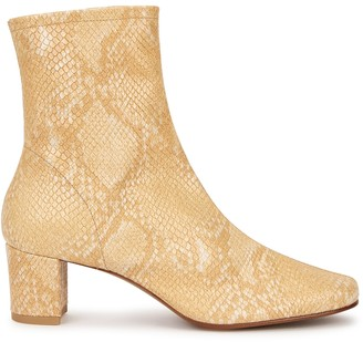 BY FAR Sophia 50 python-effect leather ankle boots