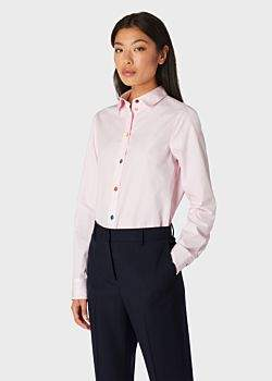 Paul Smith Women's Slim-Fit Light Pink Cotton Shirt With 'Signature Stripe' Cuff Lining