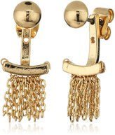 """Laundry by Shelli Segal Melrose Place"""" Chain Fringe Front/Back Earrings Jackets"""