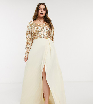 Virgos Lounge Plus puff-sleeved embellished maxi dress with balloon sleeves in rose gold