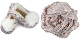 Me Moi Perfect Plaid Knit Shawl Plush-Lined Faux Fur Slipper Set