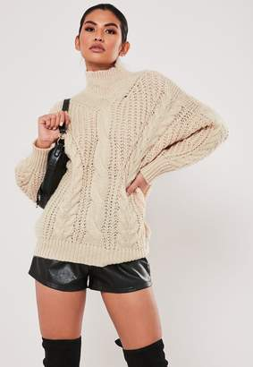 Missguided Stone Cable Knit High Neck Jumper