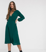 New Look Petite wrap midi dress in dark green