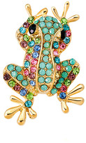 Ella & Elly Women's Brooches and Pins Blue - Green & Goldtone Frog Brooch