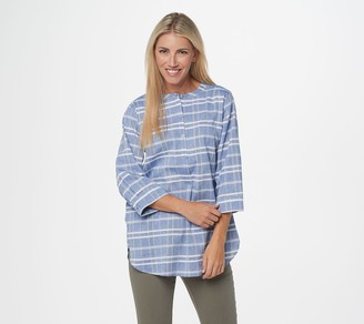 Joan Rivers Classics Collection Joan Rivers Windowpane Tunic with 3/4-Sleeves