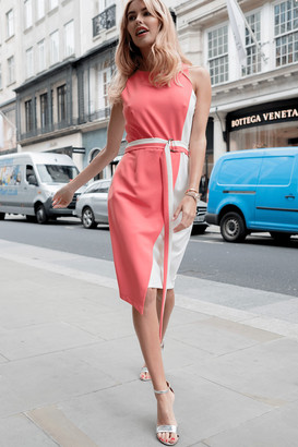 Paper Dolls Jubilee Coral Colour Block Pencil Dress