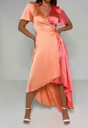 Missguided Peach Two Tone Satin High Low Midi Dress