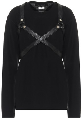 Junya Watanabe Faux leather-trimmed sweater