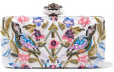 Alexander McQueen Heart Embellished Embroidered Satin Clutch - Ivory