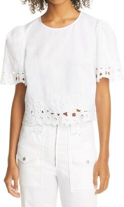 La Vie Rebecca Taylor Ella Embroidered Linen & Cotton Top