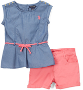 U.S. Polo Assn. Blue Sleeveless Tunic & Coral Shorts - Infant & Girls