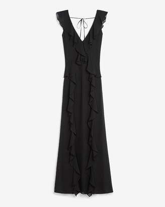 Express V-Neck Ruffle Maxi Dress