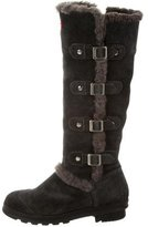 Hunter Buckle-Accented Suede Boots