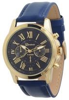 Geneva Platinum Women's Chronograph Roman Numeral Faux Leather Strap Watch