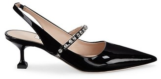 Miu Miu Crystal-Embellished Patent Leather Slingback Pumps