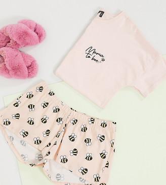 ASOS DESIGN Maternity exclusive mama to bee tee & short pyjama set in peach