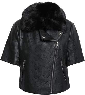 Shrimps Laser-cut Faux Leather And Fur Jacket