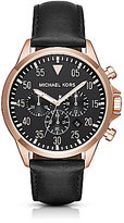 Michael Kors Gage Chronograph Leather-Strap Watch