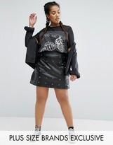 Daisy Street Plus Stud Detail Leather Look Skirt