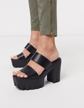 ASOS DESIGN Natty chunky platform heeled mules in black