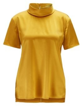 Mock neck top in stretch-silk satin