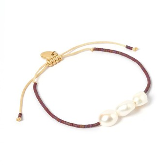 Arms Of Eve Serena Gold & Pearl Bracelet - Purple