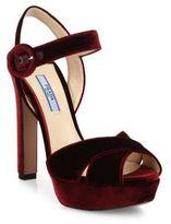 Prada Velvet Crisscross Ankle-Strap Platform Sandals