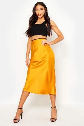 boohoo Satin Bias Cut Midi Skirt