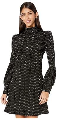 Kate Spade Wavy Dot Ponte Dress (Black) Women's Dress
