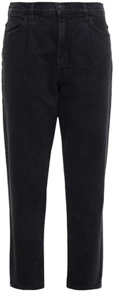 J Brand Pleated High-rise Tapered Jeans