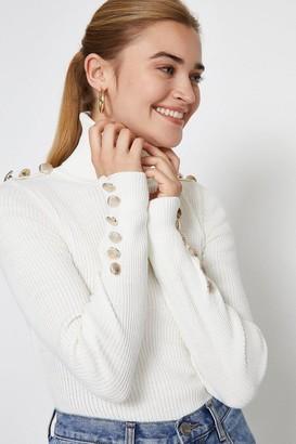 Coast High Neck Button Shoulder Detail Knit Top