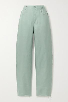 ALBUS LUMEN Frayed Linen Straight-leg Pants - Green