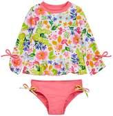 Floatimini Flower Garden Long Sleeve Rash Guard Set (Toddler, Little Girls, & Big Girls)