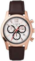 Links Of London Greenwich Noon Mens Rose Gold Tone Chronograph Brown Leather Watch