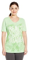 Just My Size Women's Plus-Size Printed Short-Sleeve Shirred Slub V-Neck T-Shirt