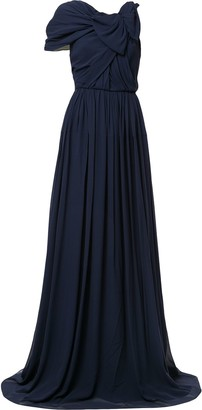 DELPOZO Asymmetric Sleeve Draped Gown