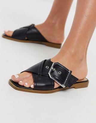 Topshop buckled sandal in black