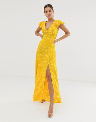Club L London button through short sleeve maxi dress in polka dot print-Yellow