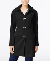 London Fog Petite Hooded Water-Resistant Clip-Front Raincoat
