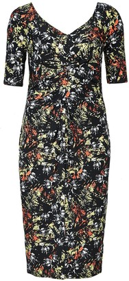 Ex Highstreet Ladies Ex Marks & Spencer Abstrect Floral Pleated Front Stretchy Shift Dress. Size 20 Black