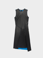 DKNY Lambskin Leather Pieced Dress
