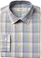 Haggar Men's Mechanical Stretch Poplin Large Plaid Fancy Long Sleeve Fitted Point Collar Dress Shirt
