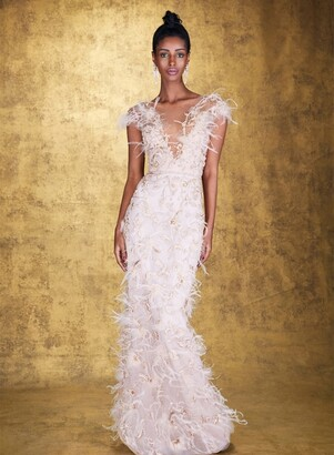 Marchesa V-Neckline Illusion Tulle Gown