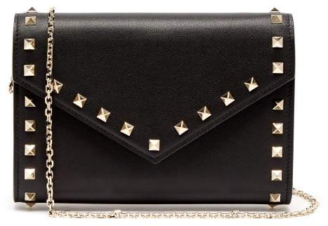 Valentino Rockstud Leather Envelope Clutch - Womens - Black