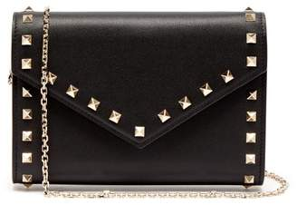Valentino Rockstud Leather Envelope Clutch - Womens - Black