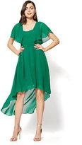 New York & Co. Flutter-Sleeve Hi-Lo Dress - Green